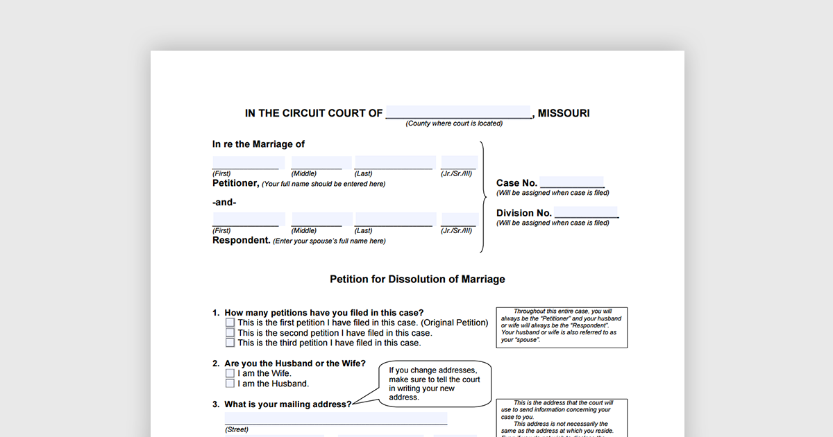 Missouri Petition for Dissolution divorce form